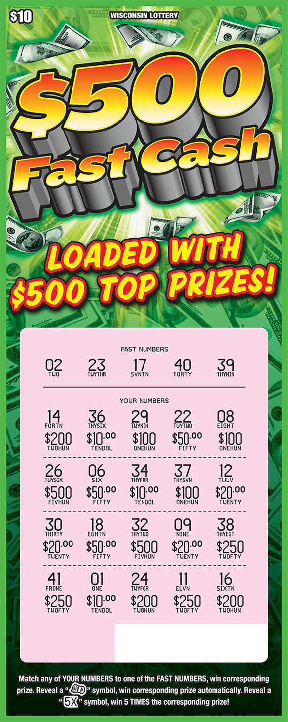 background has piles of stacks of cash and the play area has been scratched revealing the winning numbers on scratch ticket from wisconsin lottery