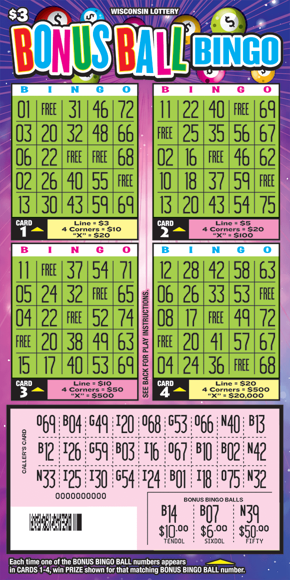 there are four square grids in a lime green color and a rectangle grid down below in a pale pink color. the background of the ticket has flashing lines with sparkles and pool balls with dollar signs on them on scratch ticket from wisconsin lottery