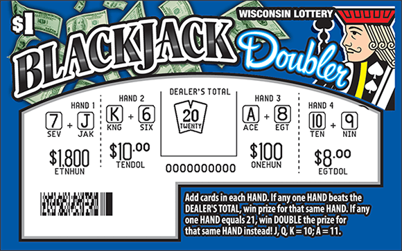 Blue background with images of floating dollar bills in the upper lefthand corner and an image of a king figure in the top righthand corner with the play area scratched revealing the winning numbers and symbols on scratch ticket from wisconsin lottery