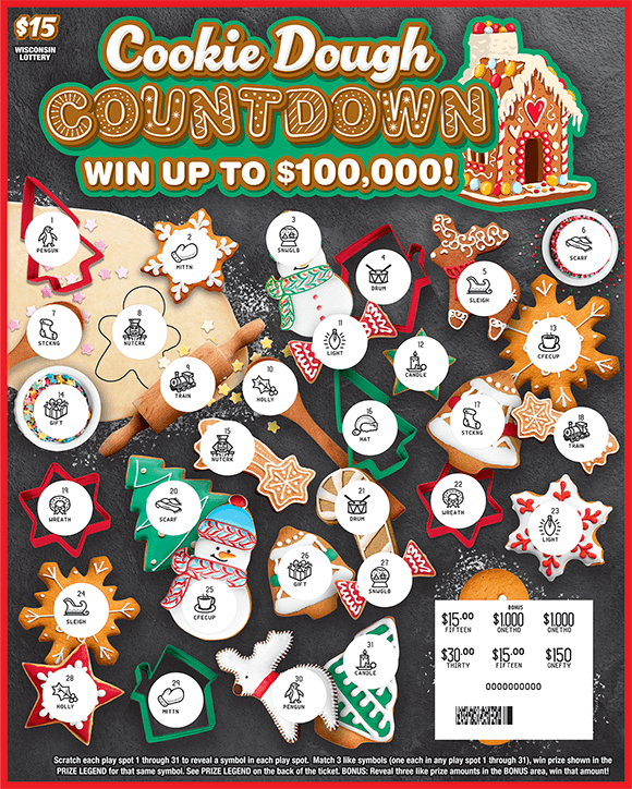 ticket has images of decorated holiday cookies with items such as a tree a snow man a gingerbread and more on scratch ticket from wisconsin lottery