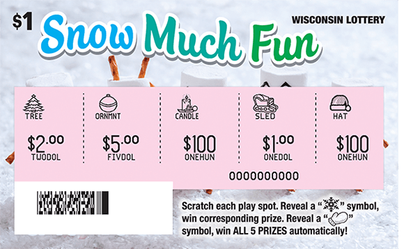 background of ticket with marshmallow snowmen made with pretzel arms and candy eyes and noses standing in the snow on scratch ticket from wisconsin lottery