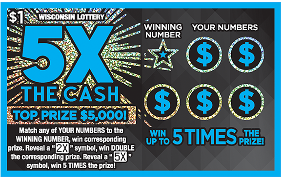 blue outline around ticket and 5x in big bold blue letters with shiny sparkly effects on the background of the ticket on scratch ticket from Wisconsin Lottery