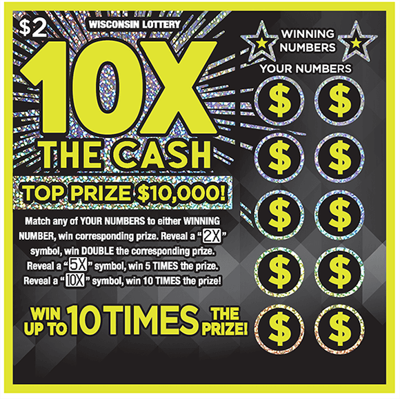 neon yellow outline around ticket and 10x in big bold yellow neon letters with shiny sparkly effects on the background of the ticket on scratch ticket from Wisconsin Lottery