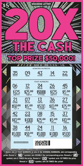 pink outline on ticket with 20x at the top of the ticket in big bold pink lettering with a firework shiny effect on the background of the ticket on scratch ticket from wisconsin lottery