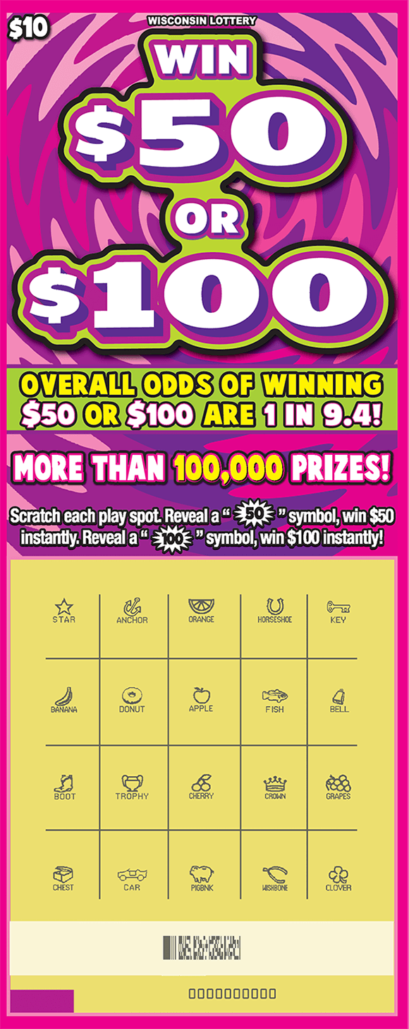 pink and purple swirly background with the play area scratched revealing the wining symbols on scratch ticket from wisconsin lottery