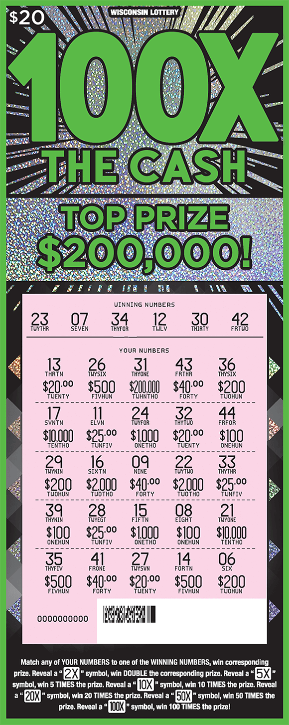 black background with sparkly silver starbursts coming from behind the name of the ticket 100x the cash in neon green lettering with scratched play area revealing numbers and prize amounts on scratch ticket from wisconsin lottery