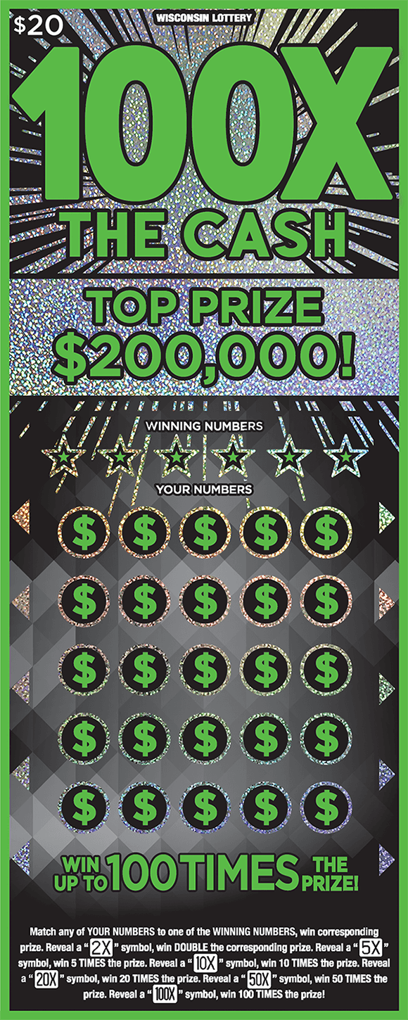 black background with sparkly silver starbursts coming from behind the name of the ticket 100x the cash in neon green lettering with green dollar signs in play area on scratch ticket from wisconsin lottery