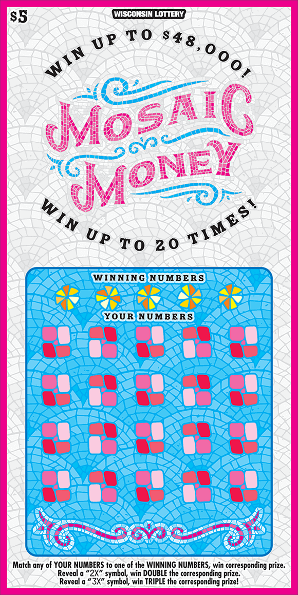 mosaic tile style ticket with white tile background and light blue tile playing area with pink and red tiles in the playing area and a pink border around edge on ticket from the wisconsin lottery
